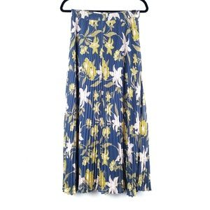 LOFT Blue Dusty Pink Floral Pleated Maxi Skirt M